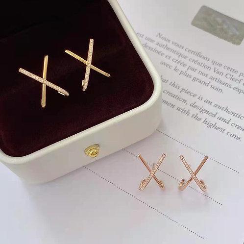 18K Solid Gold Geometric X Earrings