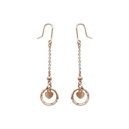 18K Solid Gold Long Chain Dangle Earrings