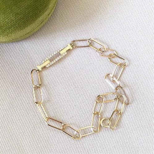 18K Solid Gold Link Bracelet with Natural Diamonds