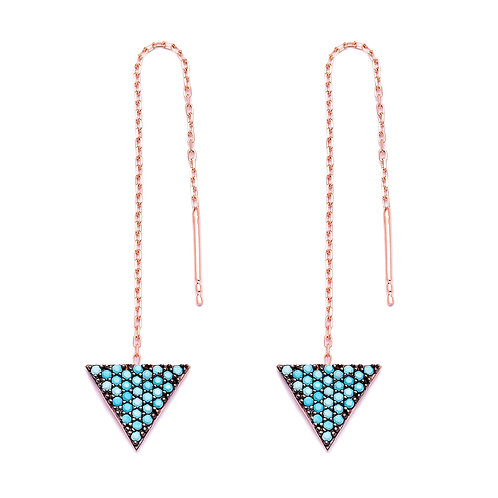 Nano Turquoise Triangle Drop Earrings 925 Sterling Silver Handmade