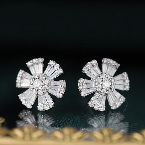18K Solid Gold Sun Flower Natural Diamond Stud Earrings