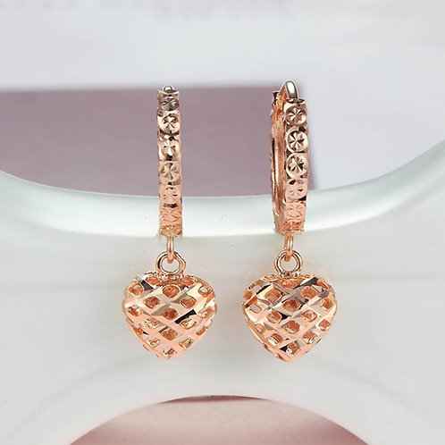 18K Solid Gold Heart Drop Dangle Earrings
