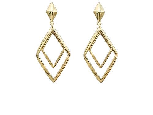 14K Real Gold Rhombus Shape Earrings