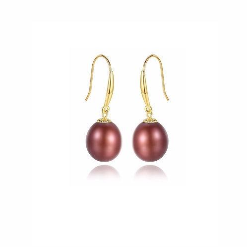 18K Real Gold Freshwater Pearl Hook Earrings