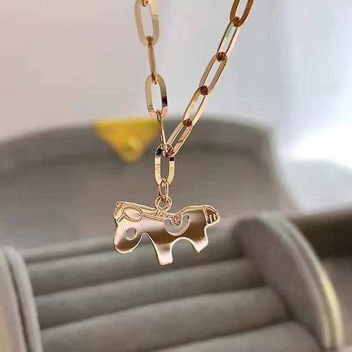 18K Solid Gold Horse Shape Charm Chain Bracelet