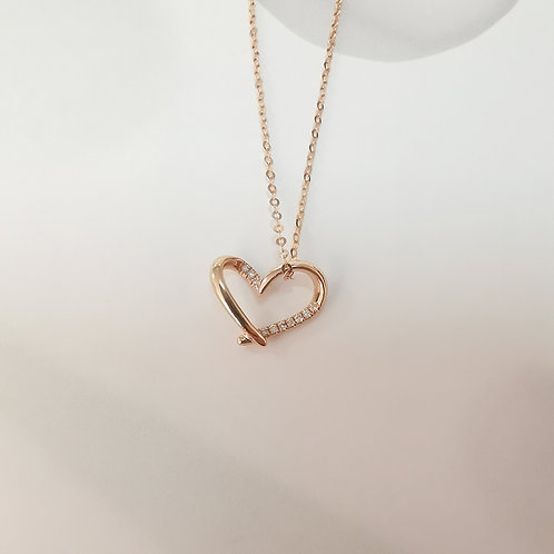 Love Heart Pendant with Diamond in 18K Solid Gold Necklace