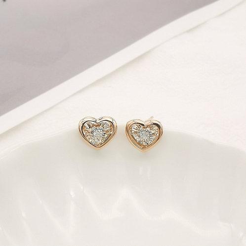 18K Solid Gold Dancing Heart Diamond Earrings