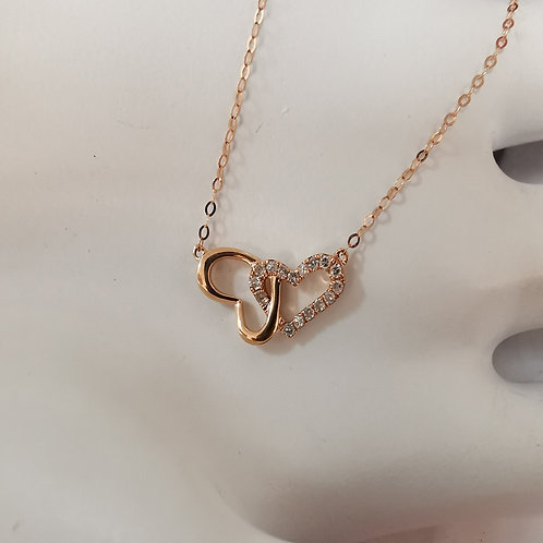Hearts Pendant with Diamonds in 18K Solid Gold Necklace