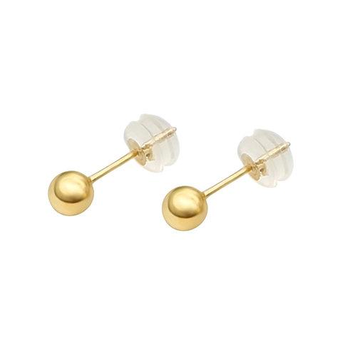 18K Real Gold Ball Stud Earrings