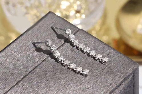 18K Solid Gold Natural Diamond Long Drop Earrings