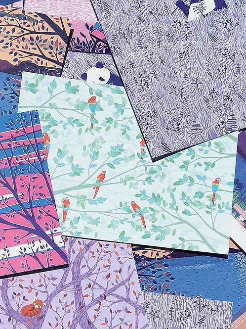 "Postkarte ""Flock of Macaws"""