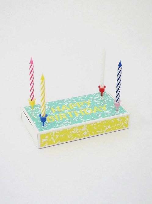 """Streichholzschachtel """"Happy Birthday"""" mit Kerzen"""