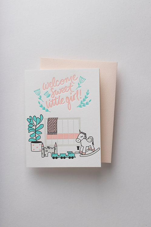"""Grußkarte """"Little Girl"""" (Letterpress)"""