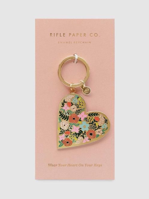 """Enamel Keychain """"Floral Heart"""""""