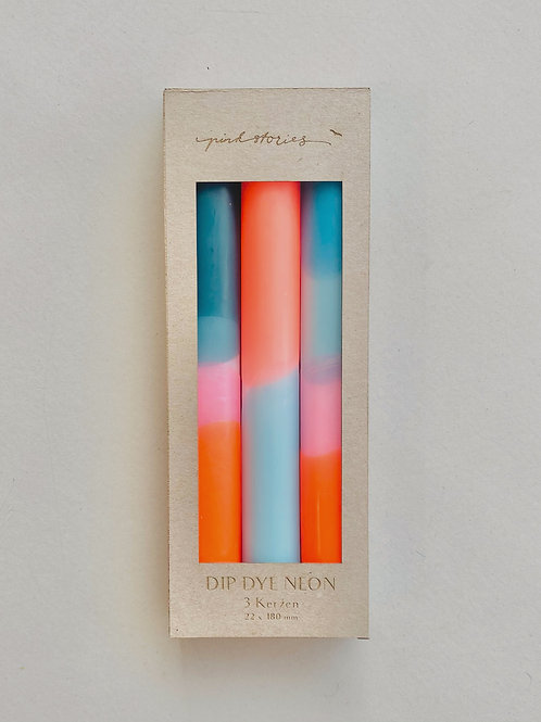 """Dip Dye Neon Kerzen Set """"Coral Playa"""""""