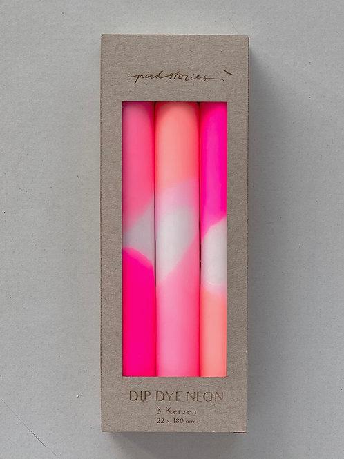 """Dip Dye Neon Kerzen Set """"Flamingo Dreams"""""""