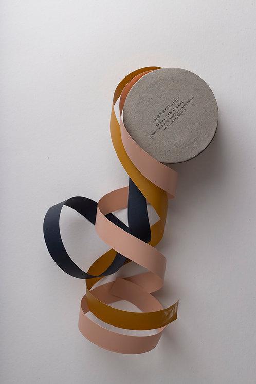 Geschenkbänder (light pink, dark blue, mustard)