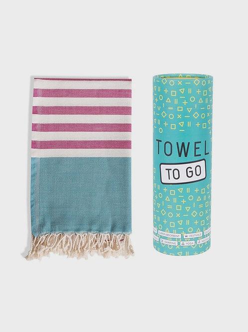 Towel to go (fuchsia, türkis) - Hamamtuch mit Geschenkbox