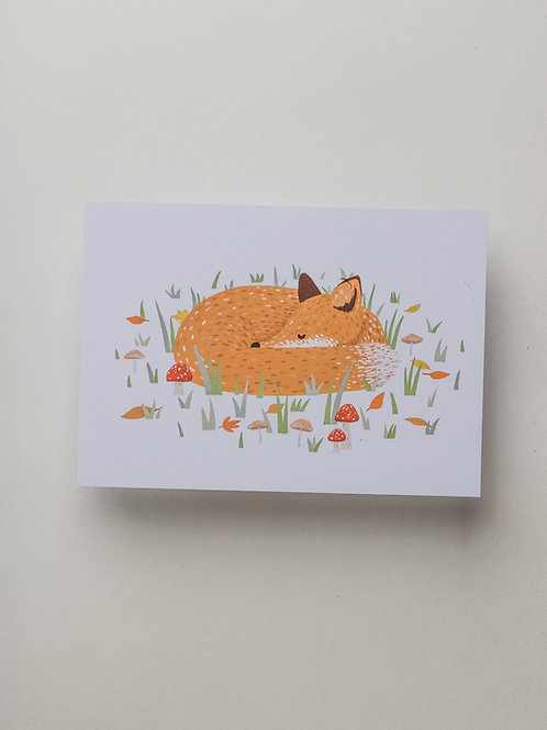 "Postkarte ""Sleeping Fox"""