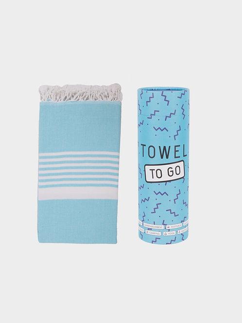 Towel to go (light blue, white) - Hamamtuch mit Geschenkbox
