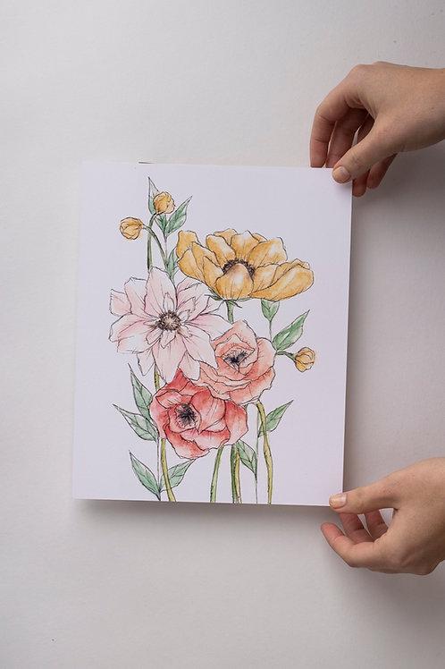 """Art Print """"Summer Bouquet"""" (8x10'')"""
