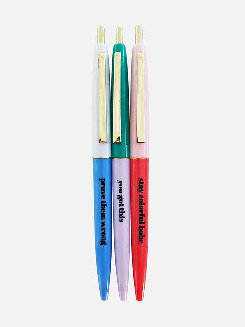 """Kugelschreiber Set """"Stay colorful"""" (3 Stk.)"""