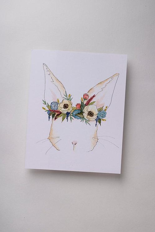 "Art Print ""Bunny Flower Crown"" (8x10'')"