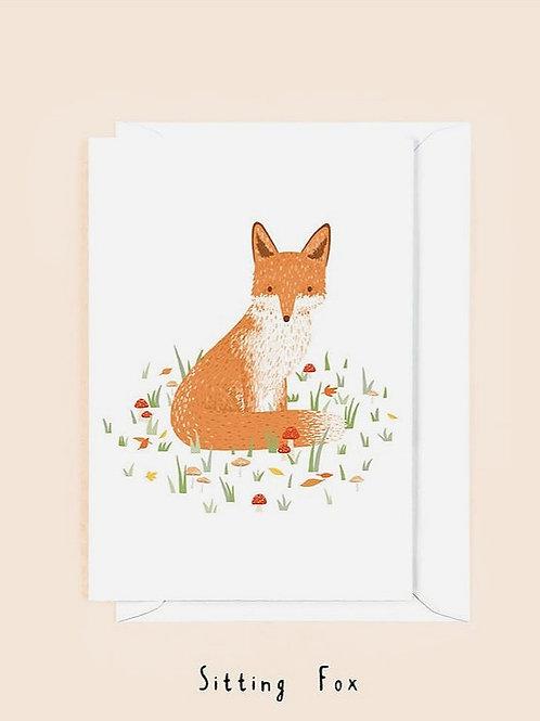 "Grußkarte ""Sitting Fox"""