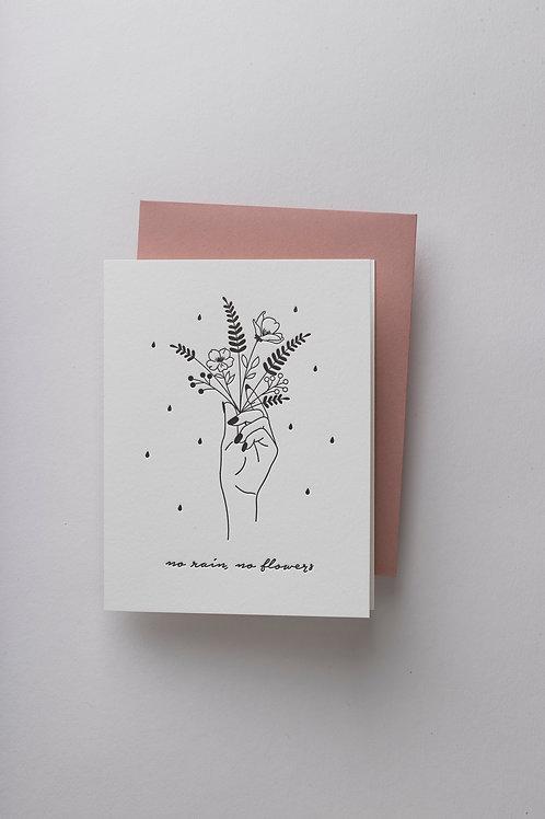 "Grußkarte ""No rain, no flowers"" (Letterpress)"
