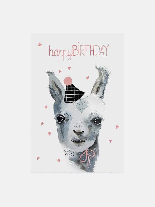 "Grußkarte Lama ""Happy Birthday"""