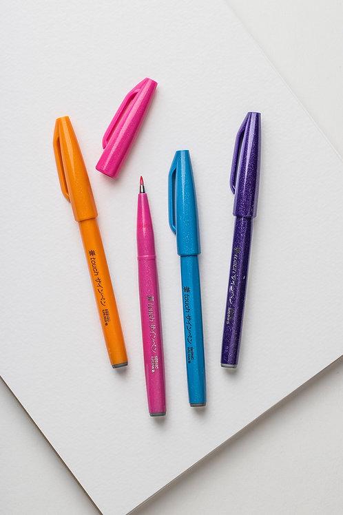 """Pentel Brush Sign Pen Set """"Happy"""" (4er Pack)"""