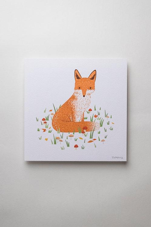 "Art Print ""Sitting Fox"" (quadratisch)"