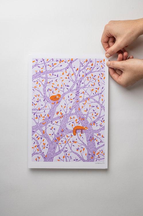 "Risograph Art Print ""Red Panda"" (A4)"
