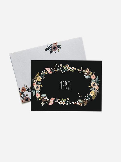 "Grußkarte Floral ""Merci"""