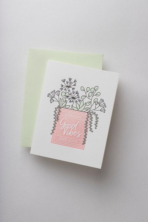 "Grußkarte ""Good vibes & love"" (Letterpress)"