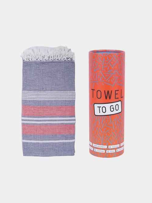 Towel to go (navy, rot) - Hamamtuch mit Geschenkbox