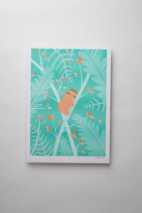 """Risograph Art Print """"Sleepy Sloth"""" (A4)"""