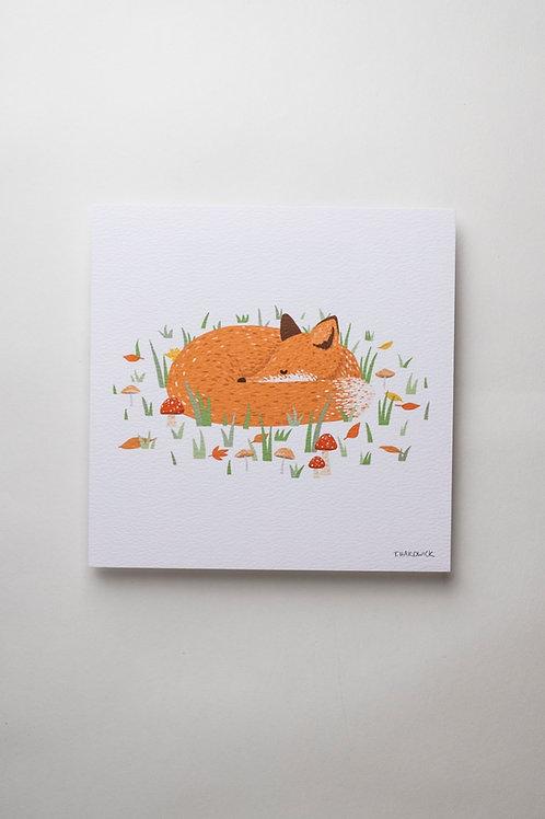 "Art Print ""Sleepy Fox"" (quadratisch)"