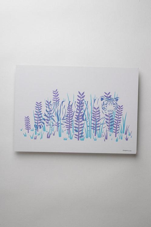 "Risograph Art Print ""Tiger in the Grass"" (A4)"
