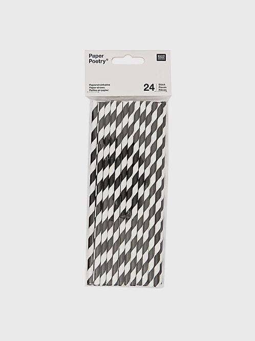 "Papierstrohhalme ""Black'n'White"" (24 Stk.)"