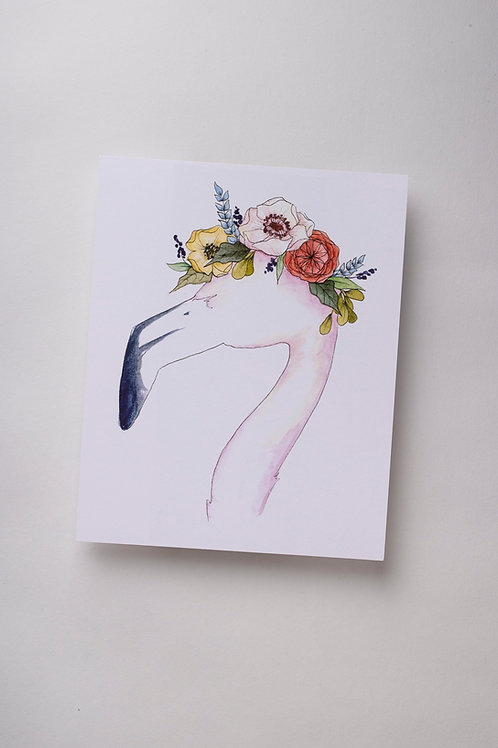 "Art Print ""Flamingo Flower Crown"" (8x10'')"