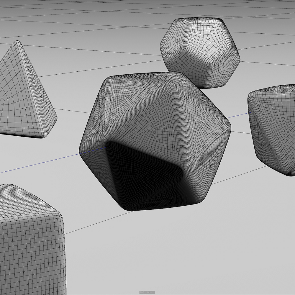 Viewport Wireframe view of the dice.