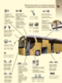 МЭФЗ предлагает продукцию используемую в производстве автобусов: Замок для креплений потолка, шток, корпус, поручень в сборе, накладка, защелка в сборе, фиксаторы, облицовка в сборе