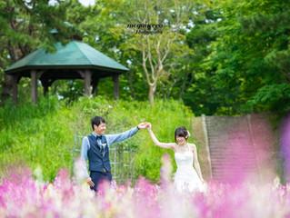 緑と花に囲まれて、結婚式前撮り@ひたち海浜公園