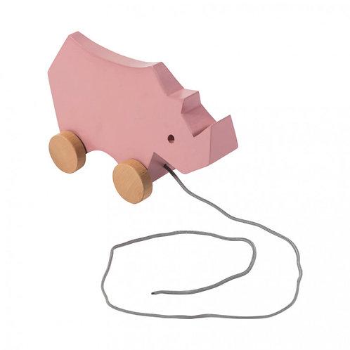 Houten Trekdier Sebra - Rhino Pink