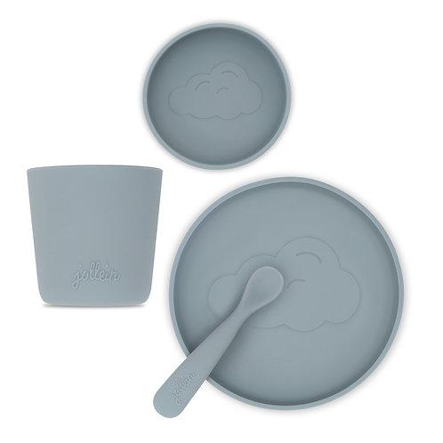 Siliconen kinderservies - 3-delig -  Petrolgrijs - Jollein
