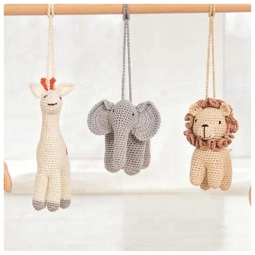 Gehaakte hanger - Leeuw, olifant, giraf