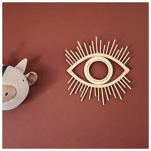 Rotan wandhanger oog