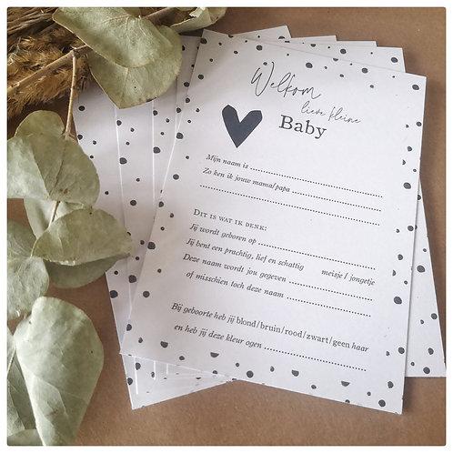 Voorspellingskaartjes babyshower - Monochrome hartjes