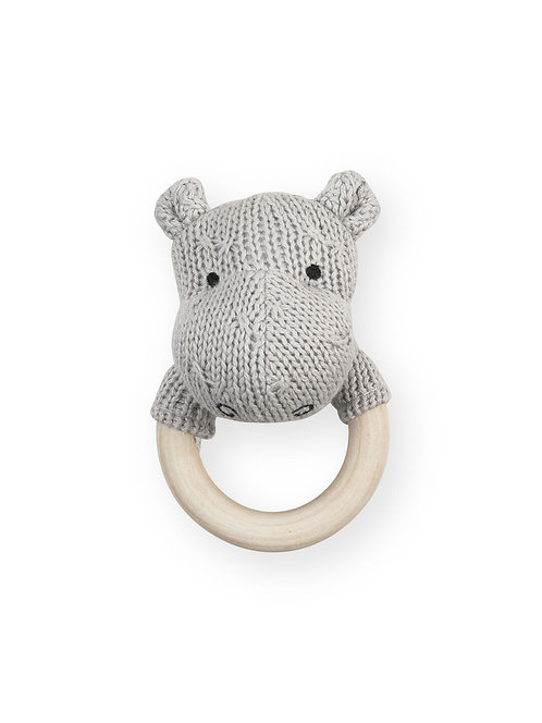 Bijtring met rammelaar - Hippo - Jollein